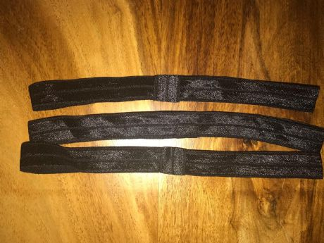 3 X 5/8 FOE ELASTIC PRE MADE HEADBANDS IN BLACK